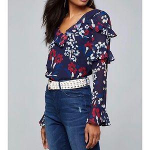 Bebe print tier winterfell ruffle blouse Sm